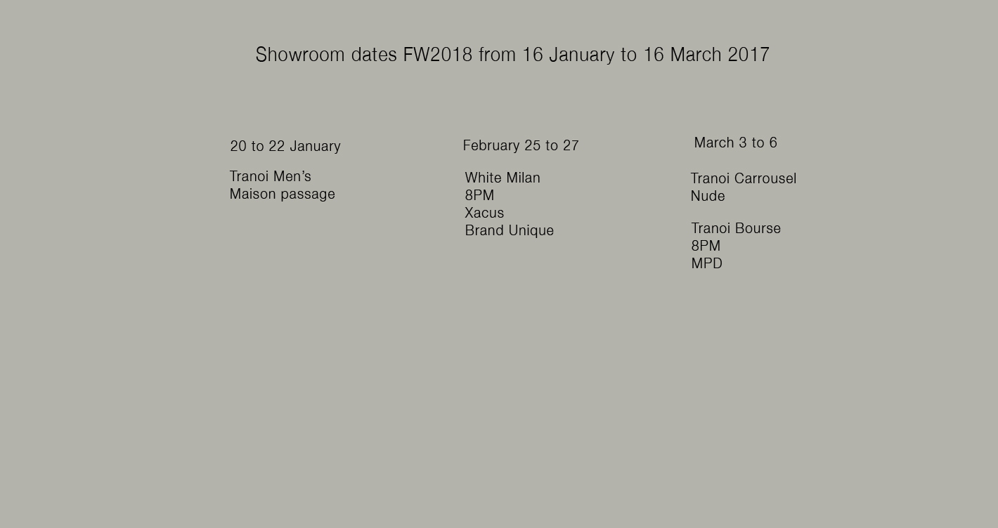 showroom dates